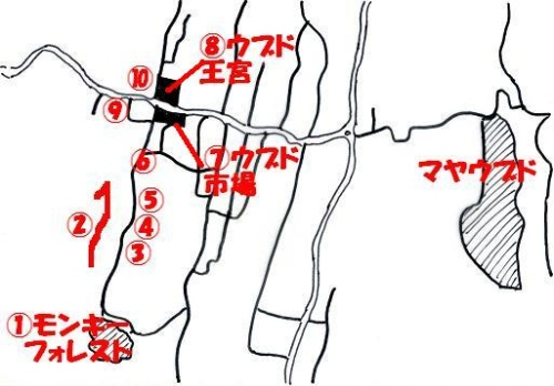 ウブドの街の地図