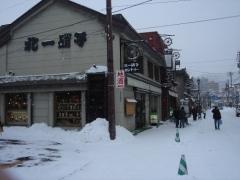 観光通りは雪景色